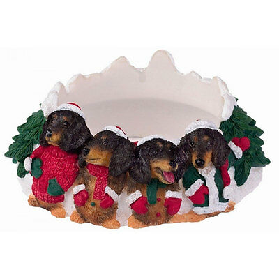 Dachshund Holiday Candle Topper Ring Black