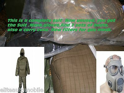 Nbc suit boots gloves Mask fits M to L Nuclear Biological Chemical Ebola hazmat