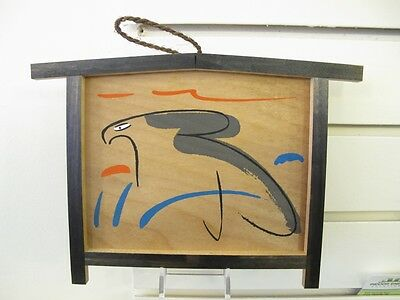 #72 Vintage Japanese Wood Ema Prayer Board Hawk