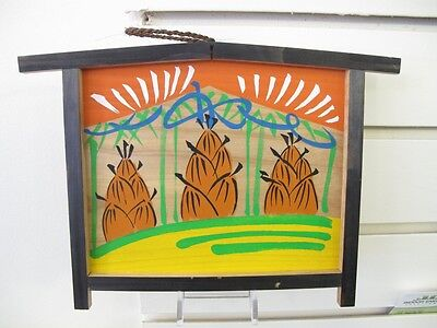 #73 Vintage Japanese Wood Ema Prayer Board Bamboo Shoot