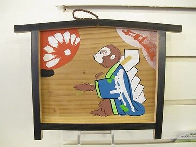 #77 Vintage Japanese Wood Ema Prayer Board Monkey