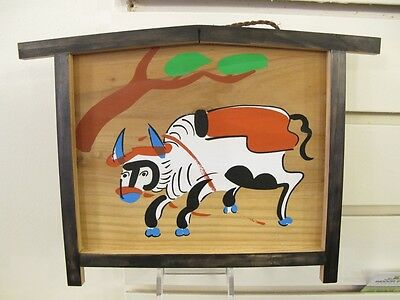 #81 Vintage Japanese Wood Ema Prayer Board Cow