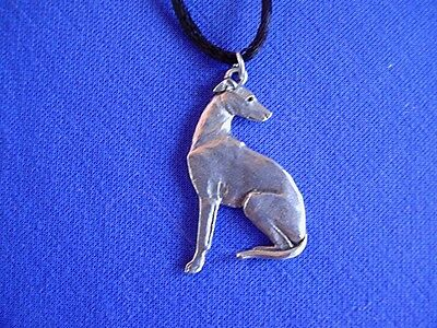 Whippet Greyhound Sitting necklace 110F Pewter Dog Jewelry by Cindy A. Conter