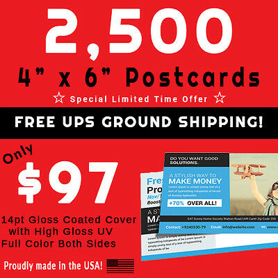 2,500 Postcards • Full Color • PRESS PRINTED • Gloss UV Coated • FREE SHIPPING!