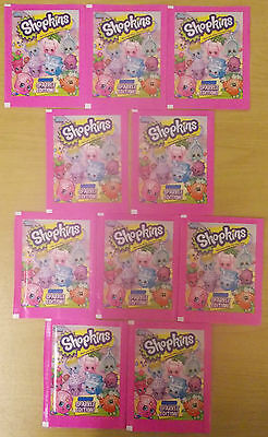 Shopkins Sparkle ~ Topps Sticker Collection ~ 10 x Sealed Packs = 50 Stickers