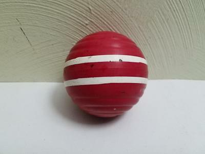 """Vintage Wooden Wide Ribbed 2 Stripe Red Croquet Ball 9.5"""" South Bend Skowhegan"""