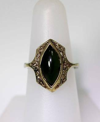 Beautiful Sterling Silver Vermeil Green Agate Filigree Ring Size 6.5 - 6666