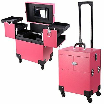 Professional PVC Rolling Makeup Cosmetic Train Case Lockable Wheeled Box Pink