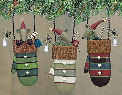 Assorted Mice in Mittens Ornaments - Set of 3 - Williraye -2894 - New
