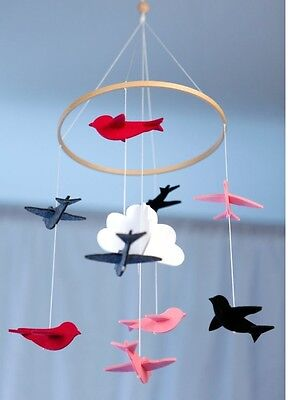 Baby song bird mobile for crib & nursery: pink, grey, white, cloud hanging