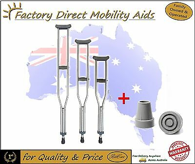 Crutches Under Arm 3 sizes available Aluminium + Extra Pair of Crutch Tips