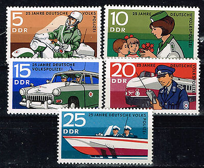 Germany DDR Transportation Police Train Motorcycle Car Ship stamps 1969 MLH