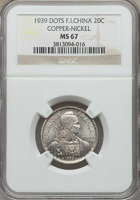 1939 French Indo-China Dots 20 Cents NGC MS 67 None Finer @ NGC Vietnam Cochin