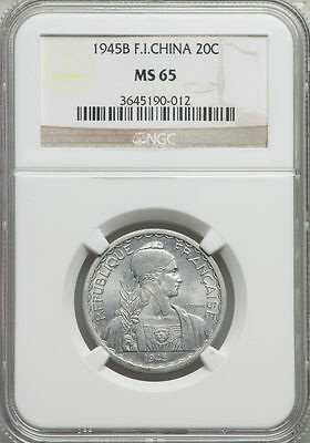 1945-B French Indo-China 20 Cents NGC MS 65 Cochin Vietnam None Finer @ NGC