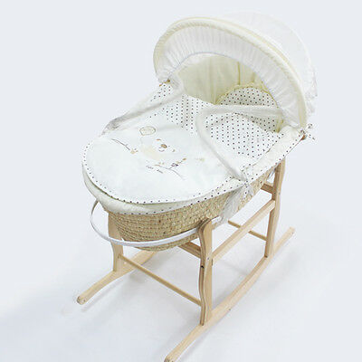 Baby Carrier Moses Basket Bassinet w/ Rocking Stand & Cotton waffle interior