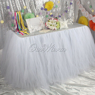 Tulle TUTU Table Skirt Wedding Party Xmas Cute Birthday Decor - White 100x80CM