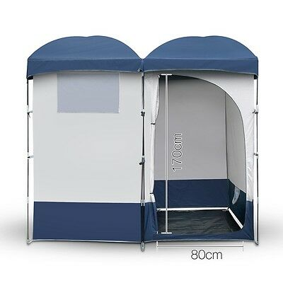 Double Camping Shower Toilet Tent Outdoor Portable Change Room Shelter Ensuite