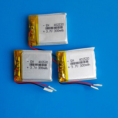 3 pcs 3.7V 300mAh Li Po Polymer Battery for MP3 GPS PSP Headset Bluetooth 402530