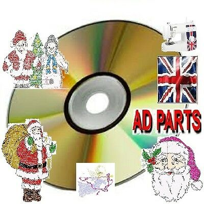New 1000 Embroidery Xmas Christmas Designs Cd / Dvd Brother Pes Hus