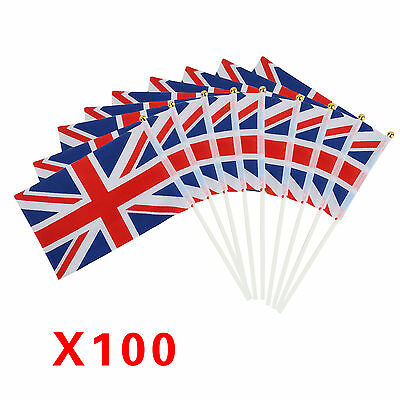 Pack 100 union jack small hand waving flag waving flags Great britain british
