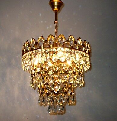 Ceiling Light Pendant Fixture Flush Mount Vintage Brass Crystal Chandelier 1980