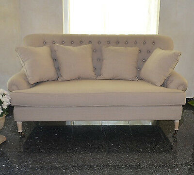 French Antique Sofa Couch 3-Seater Vintage Retro Beige Fabric Ecru Wooden Legs