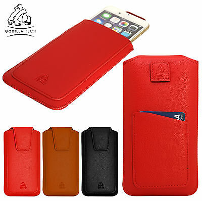 Genuine Leather Pouch Pull Up Case Gorilla Hand Made Card Slot for Mobile Phone