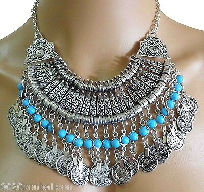 Egypt Handmade Metal Cleopatra Necklace Gypsy Ethnic Tribal Coins Bedouin 101