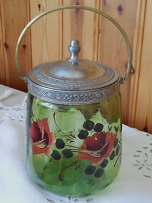 Antique French mouth blown Crystal Glass Art Nouveau Biscuit Cookie Jar C.1890.