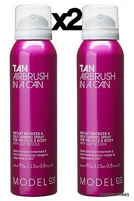 2 x ModelCo Tan Airbrush in a Can Instant Bronzer and Self Tanning Spray 90g NEW