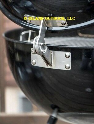 LIMITED EDITION BLACK Weber KETTLE Lid Hinge Mod smoker one touch 22.5 26.75