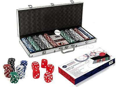 New Texas 500 Casino Poker Chips Set New Card Game 5 Dice With Aluminium Case