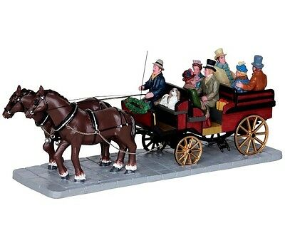 """Lemax - Horsedrawn  Horse & Cart """"Ride In The Country"""" With 8 Seated Figures ."""