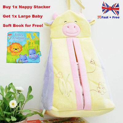 Baby Nappy Stacker-Cosy Soft Feel Nursery Cot Bed Tidy Organiser/ Nappy Storage