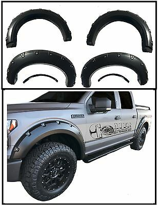 09-14 Ford F150 Fender Flares Pocket Rivet Style 6PC Offroad Black Wheel Cover