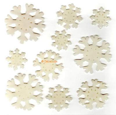 10 Christmas Snowflake Window Gel Stickers Clings Decoration White Reusable