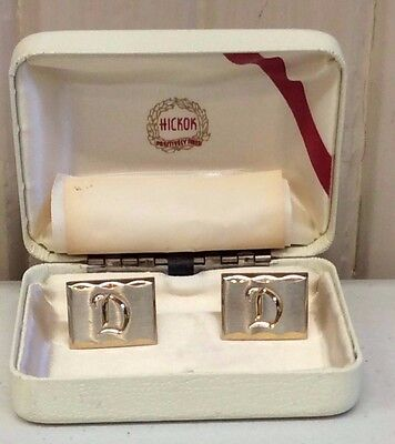 Hickok Cufflinks With The Letter D In Original Box