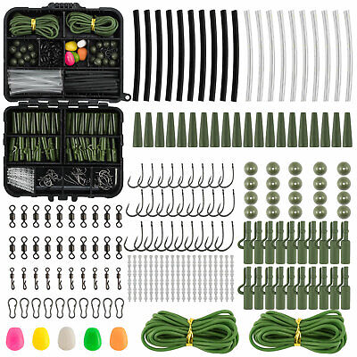 Fishing Tackle Box 219pcs Carp Safety Lead Clips Hooks Swivel Corn Tubing Rigs