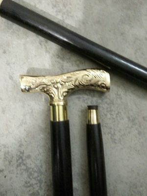 Vintage Designer Brass~Handle Antique Style Victorian~Cane Wooden Walking Stick