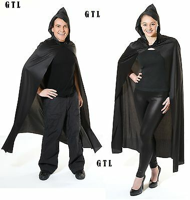 Black Deluxe Vampire Cloak Long Cape With Hooded  Halloween Unisex Fancy Dress