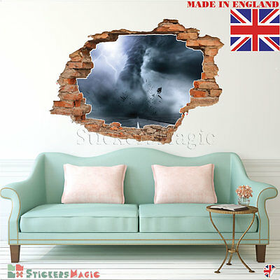 3D Wall Stickers Tornado Smashed Cracked Hole Boys Bedroom Living Room Decal