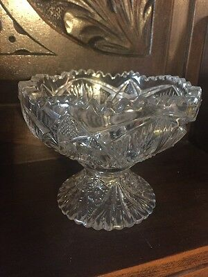 EAPG Antique Glass Child's Toy Punch Bowl, Wheat Sheaf