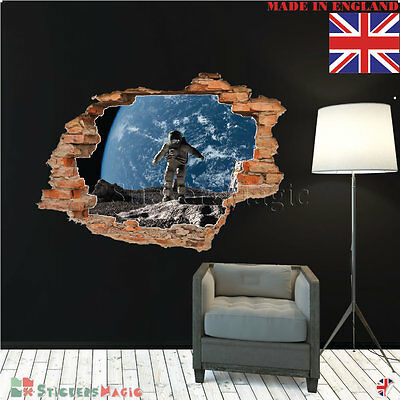 Space 3d Wall Stickers Teenage Boys Kids Room Bedroom Astronaut Smashed