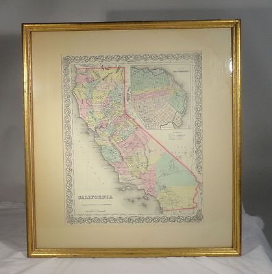 Antique Coltons Atlas Hand Colored Lithograph California 1855 Gold Rush Map