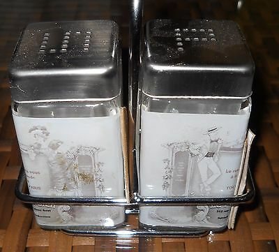 Salt Pepper Shakers Glass Paris French Caddy Holder Man Lady Stainless Tops