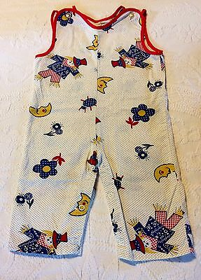 Vintage Baby Toddler Romper Scarecrow Ladybug Moon Flower Red Yellow Blue ~12mo