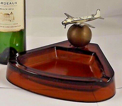 Vintage Art Deco Model Airplane Ashtray mid century Douglas french Aeromaritime