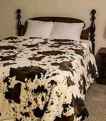 """79"""" x 96"""" Queen Size RODEO COW Faux Mink Blanket Animal Print Nature Throw NEW"""