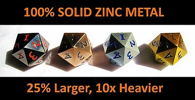 Set of 4x Solid Metal D20 Countdown Dice 20 face Count Down 20 faced Counter