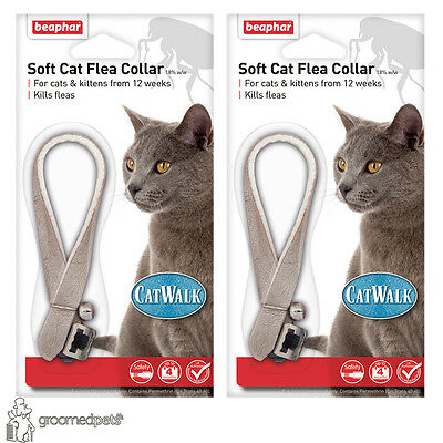 Beaphar Soft Cat&Kitten Flea Collar,Catwalk - 2 x Grey,up to 4 Months Protection